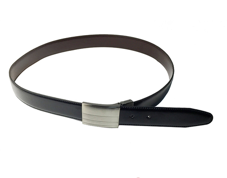 AF-130 Mens black leather belt with automatic buckle