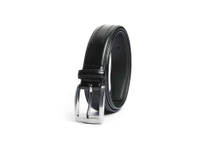 AF-193 Mens black leather formal belt with buckle