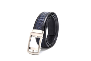 AFM7207 Mens Blue Braided PU Casual Belt with Buckle