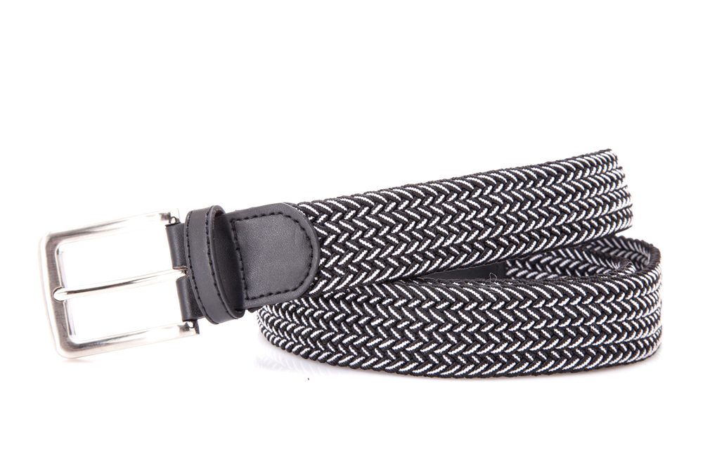 AFM7054 Mens Black And White Elastic Jeans Belt with Buckle