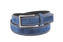 AFM7041 Mens Blue Canvas PU Casual Belts with Pin Buckle