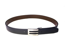 AF-162 Mens black leather formal belt with buckle