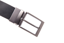 AFM7040 Mens Black Leather Quality Reversible Belt with Gunmetal Buckle