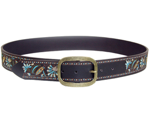 AF-001 Womens embroidary belts fashion belt with gold buckle