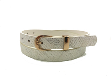 AF-099 Women's White PU Dress Belt with Golden Buckle